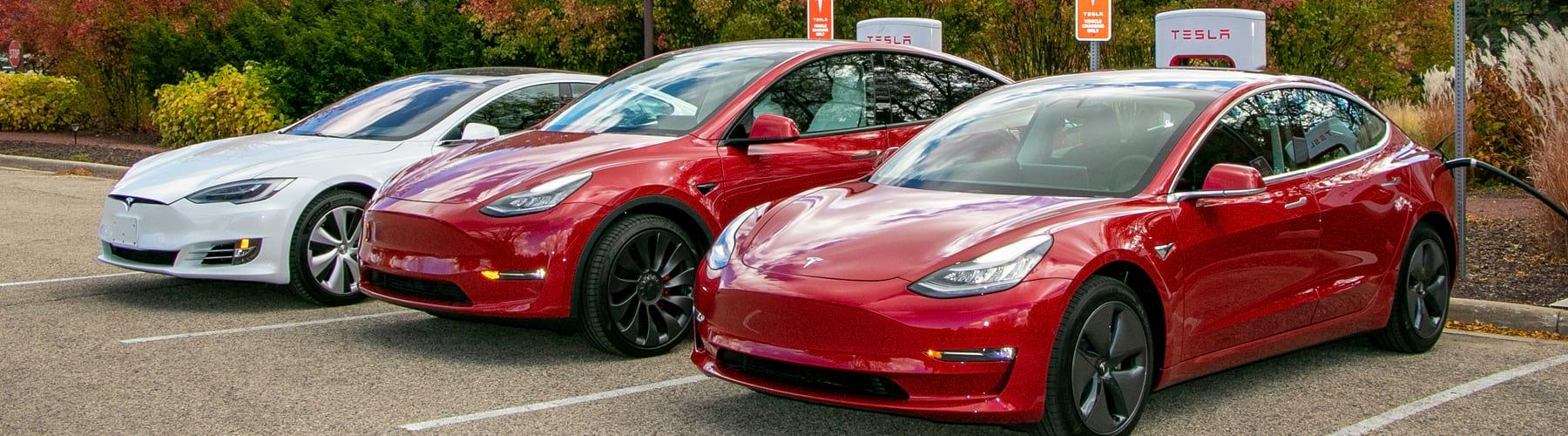 Three Tesla Cars Lined Up