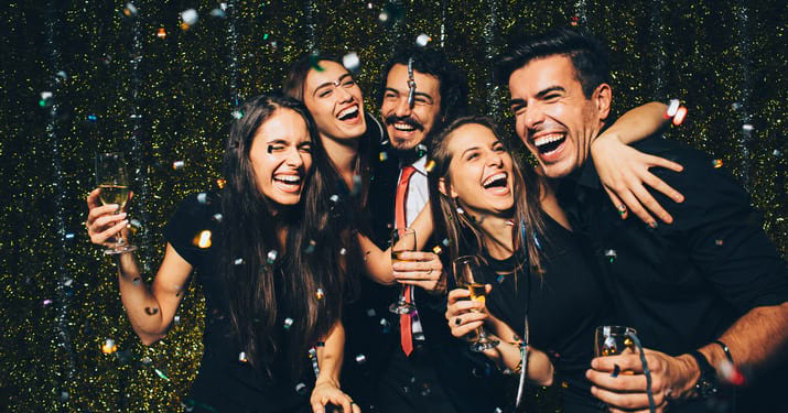 Group having fun on New Year's Eve