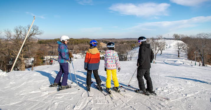 Family skiing at The Mountain Top