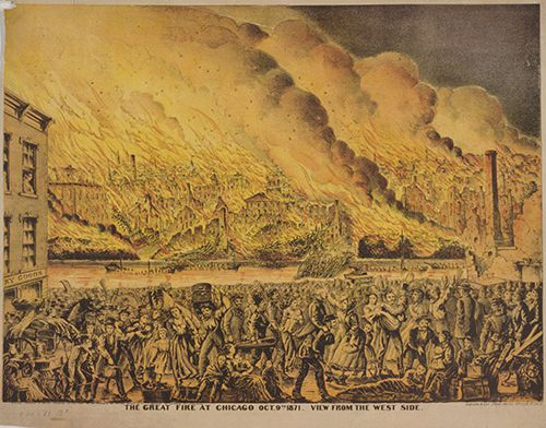 Artist rendition of the 1871 Great Chicago Fire