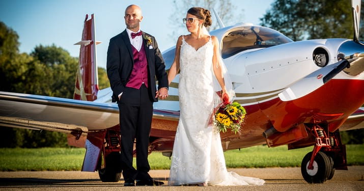 Wedding Couple on Landing Strip